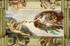 A Beginner's Guide to the Renaissance: The Creation of Adam. Renaissance frescoes by Michelangelo in the Sistine Chapel . Renaissance Kunst, High Renaissance, Renaissance Paintings, Renaissance Memes, Most Famous Paintings, Famous Artists, Famous Artwork, Michelangelo Paintings, Sistine Chapel Ceiling