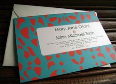 "Unique Wedding Invitations, Teal and Orange ""Otani"" Sample"