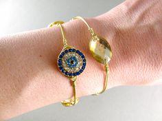 Greek jewelry. Evil Eye Bangle Bracelet. Gold Bracelet. Blue Evil Eye. Rhinestone Eye. Wire Wrapped Bangle. Stacking Jewelry.Gift under 15 by SecretStories