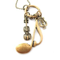 Large Quaver Note Violin and Musical Notes Shaped Charm Necklace in Bronze