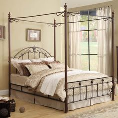 Queen-Size-Canopy-Bed-ELEGANT-Metal-Sturdy-Pretty-Bedframe-Romantic-Scroll-Teen