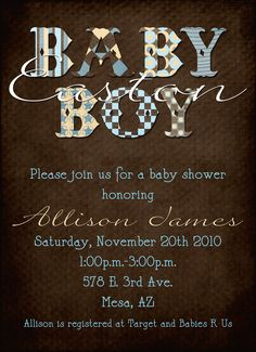 Modern Boy Baby Shower Invitation by Sassygfx on Etsy, $15.00