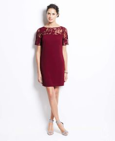 Lace Yoke Short Sleeve Dress