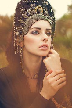 Goth Couture 'Golden Night' Kokoshnik by livfreecreations on Etsy