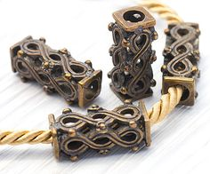 Greek Ornament Long Hollow Tube Beads Bronze with by TreeTerracom