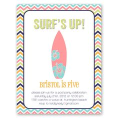 surfer girl surfing pool party invitation printable by elleandbean, $15.00