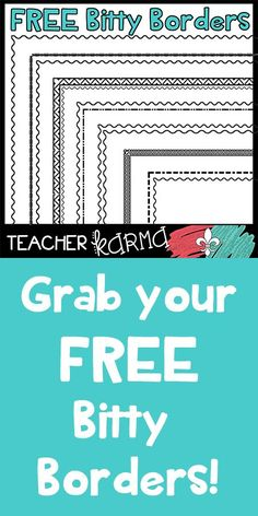 FREE Bitty Borders - Small Borders to Fit Your Educational Resources Free Teaching Resources, Teaching Tools, Teacher Resources, Teaching Ideas, Teachers Pay Teachers Freebies, Teacher Freebies, Beginning Of School, First Day Of School, Teacher Organization