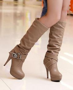 Concise Platform PU Knee High Boots