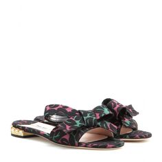 mytheresa.com - Embellished jacquard sandals - Flat - Sandals - Shoes - Miu Miu - Luxury Fashion for Women / Designer clothing, shoes, bags