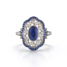 Calliope sapphire and diamond ring from the Kwiat Vintage Collection in 18K white gold