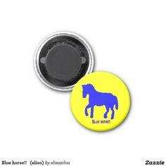 Blue horse!!   (eliso) imán redondo 3 cm