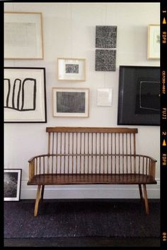 gallery wall + bench