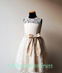 Champagne Sash Ivory Lace Flower Girl Dress/Wedding Baby Dress/Baby Girl Dress/1th Birthday Dress 2014
