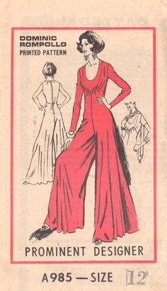 5f3a333f213e Mail Order A985 1970s Misses Palazzo Jumpsuit Pattern by mbchills Palazzo  Jumpsuit