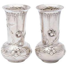 Pair of Art Nouveau Continental Silver Bud Vases Hammered Silver, Sterling Silver, Art Nouveau, Art Deco, Asymmetrical Design, Bud Vases, Cool Furniture, Glass Vase, Ceramics