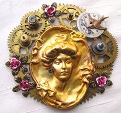 "Steampunk brooch with the Gibson Girl. The ""Gibson Girl"" was the epitome of the modern woman. Beautiful and graceful, she was also strong, confident and outgoing, ready for adventure!"