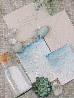 beach wedding invitations - http://ruffledblog.com/malibu-coastal-bohemian-wedding-inspiration