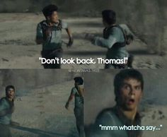 The Maze Runner • funny • smile • Minho • Thomas • Don't look back • funny