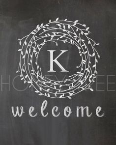 "CUSTOM Chalkboard Style Print- Family monogram with leaf frame & ""welcome"" message によく似た商品を Etsy で探す"