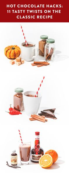 Spice up your life (and your hot chocolate) with these drink hacks! Chili peppers, cinnamon, squash, oranges...anything's possible when you mix and match!