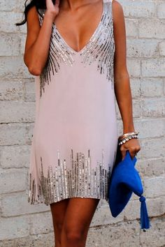 Sequin, Deep V-Neck Summer Dress.