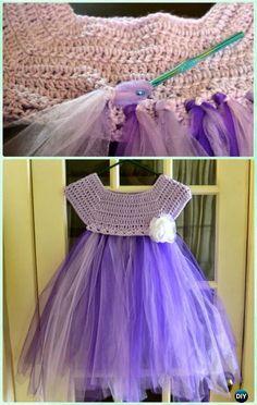 Kassia Empire Waist Crochet Tutu Tulle Dress - Tutu Dress Free Pattern DIY Crochet Tutu Dress Bodice Free Patterns: Crochet tutu bodice make it easy to crochet the upper part of dress and add tulle tutu skirts at bottom. Diy Crochet Tutu Dress, Tutu Diy, Tutu En Tulle, Crochet Diy, Crochet Clothes, Crochet Dresses, Crochet Yoke, Ruffle Dress, Crochet Ideas
