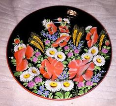 Hand Painted Decorative Plate - Poppies & Daisies