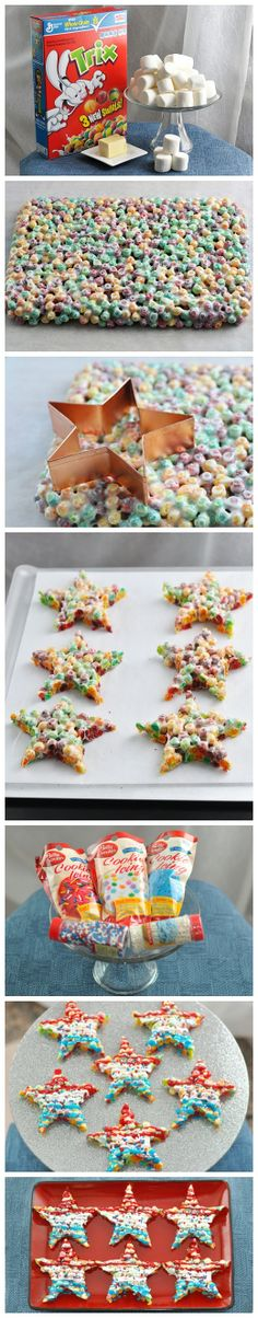 Trix Crispie Star Bars ( I would stick with Rice Crispies) the concept for a 4th of July treat is cute