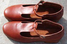 Brick Brown Vintage Inspired Fashion Handmade Handcrafted High Heels T-strap.