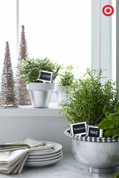 Lavender, rosemary, sage, oh my. Spruce up your kitchen this Christmas by turning these silver beaded bowls into planters for your favorite seasonal herbs. Repurpose chalkboard cheese markers as labels for a decorative touch—it's also a great way to know what's what.