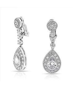 Bling Jewelry Bling Jewelry Large Dangle Teardrop CZ Bridal Chandelier Clip On Earrings