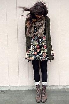 Floral dress + tights