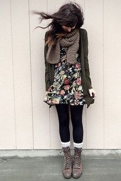 Floral dress + tights