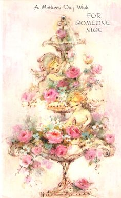 Cherubs and Pink Roses Vintage Greeting Card