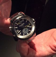 Gérald Clerc holding one of the new Hydroscaph GMTs during the show.