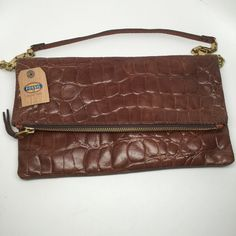"""NWT - Fossil - Women's Brown Croc Leather Clutch New with tags.  Genuine leather, measures 7""""x12"""" when folded and latched. Fossil Bags Clutches & Wristlets"""