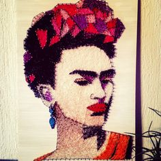 String art Frida Kahlo by @miaLazoqro fb , sting art  my best creation !