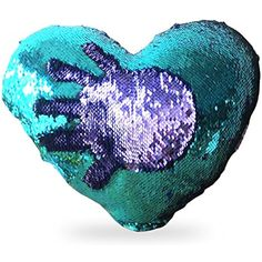 Mermaid Throw Pillows Two-color Reversible Sequins Mermaid Heart-Shaped Pillow Cover with Insert 13''×15''(Bright Green Bright purple) >>> For more information, visit image link. (This is an affiliate link) #HomeDcor
