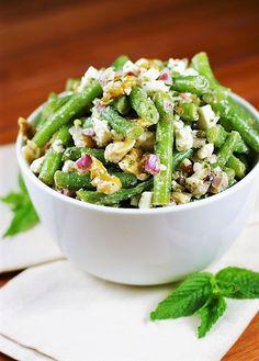 Fresh Green Bean, Walnut, & Feta Salad with Mint Dressing Image