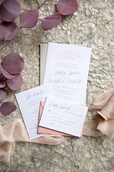 This semi-custom dusty blue and blush wedding invitation will fit in perfectly with your romantic wedding inspiration. Flexible packages available! #weddingsuite