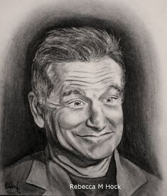 Robin Williams in Charcoal. My tribute to an unbelievably talented comedian and actor, dying prematurely after a long battle with depression and drug abuse.