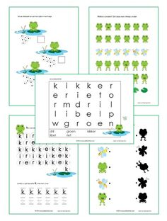 Kikker werkbladen lente Pond Life, Amphibians, Teaching, Activities, Spring, Reading, Learning, Education, Tutorials