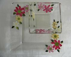 Square chip and dip set hand painted with by Morningglories1, $28.00