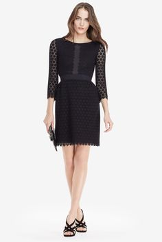 DVF Nolly Cosmic Lace A-line Dress in black