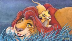Michelle St Laurent - Father and Son Hand Textured Giclee on Canvas - From Disney The Lion King - Disney Fine Art Walt Disney, Disney Films, Disney And Dreamworks, Disney Cartoons, Disney Love, Disney Magic, Disney Pixar, Lion King 3, Disney Lion King