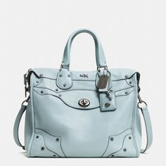 The Rhyder 33 Satchel In Pebbled Leather from Coach.  Love this pale blue and the rich leather look.