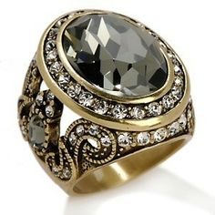 "heidi daus jewelry | Heidi Daus ""Georgian Lace"" Oval Crystal Scroll Dome Ring at HSN.com"