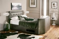 Honley Leather TV Bed - Brown - Leather Beds - Beds