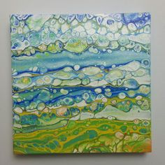 """Sold 12/23:  """"Spring Skyscape"""" 10x10 original fluid acrylic poured painting on canvas"""