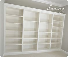 A must do for faux built ins - Ikea shelves, plus trim.  LOVE!  (could use bead board wallpaper too)